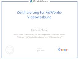 Videowerbung Zertifikat